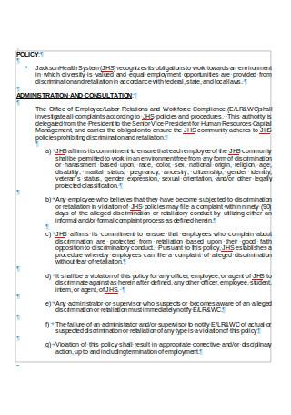 Anti discrimination and Retaliation Policy