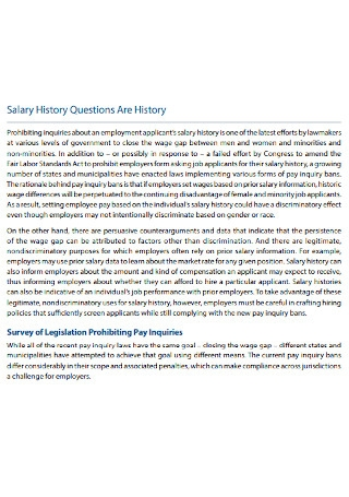 Applicants Salary History Questions
