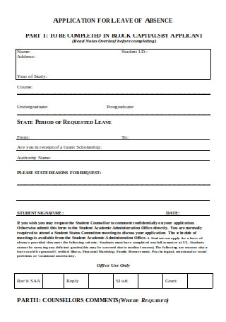 Application for Leave of Absence