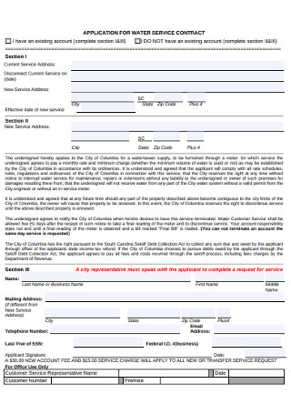 Application for Water Service Contractor