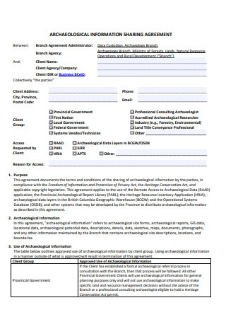 Archaeological Information Sharing Agreement