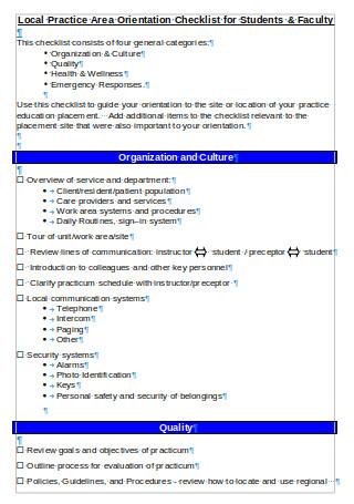 Area Orientation Checklist