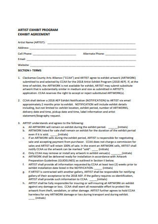 Artist Exhibit Agreement Format