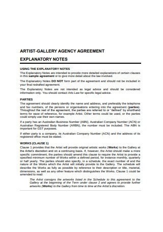 Artist Gallery Agency Agreement