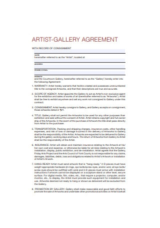 Artist Gallery Agreement