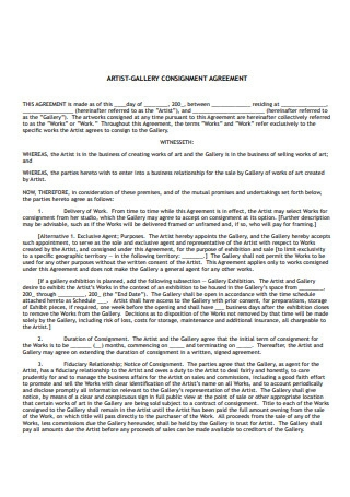 Artist Gallery Consignment Agreement
