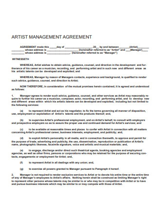 Artist Management Agreement