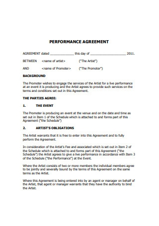 Artist Performance Agreement
