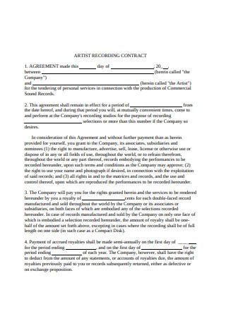 Artist Recording Contract