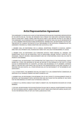 Artist Representation Agreement