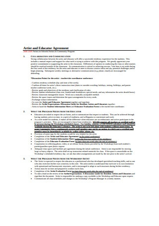 Artist and Educator Agreement