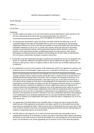 Artists Management Contract in PDF