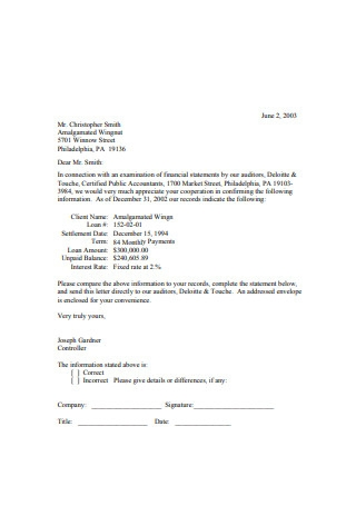 Audit Confirmation Letter