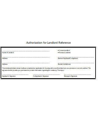 Authorization for Landlord Reference