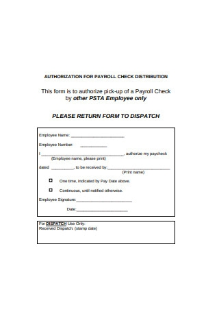 Authorization for Payroll Check Distribution