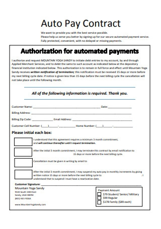 Auto Pay Contract