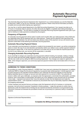 Automatic Recurring Payment Agreement