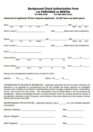 Background Check Authorization Forms