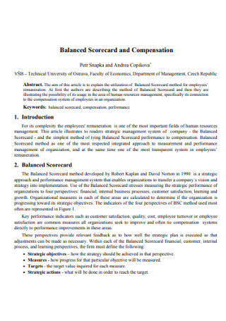 Balanced Scorecard and Compensation