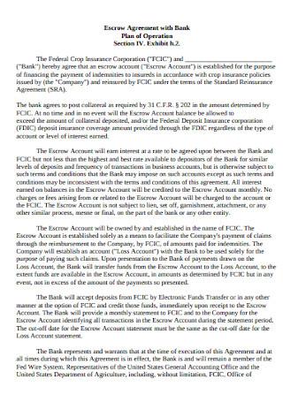 Bank Escrow Agreement