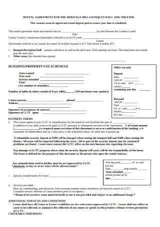 Banquet Hall Rental Agreement