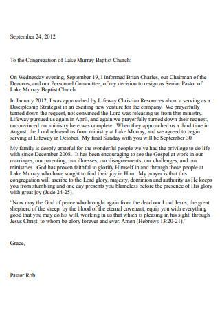 Baptist Church Resignation Letter