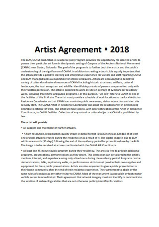 Basic Artist Agreement Example