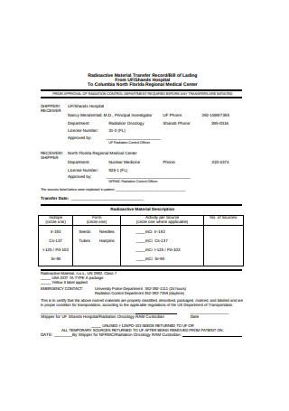 Basic Bill of Lading Form Sample