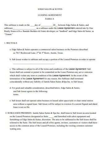 Basic Booth Salon Lease Agreement