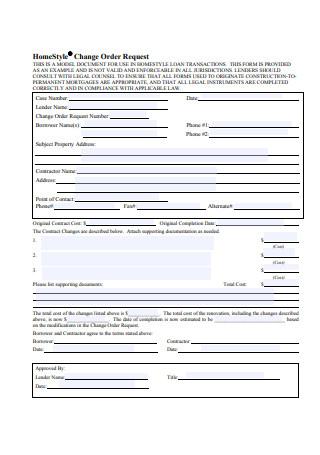 Basic Change Order Request Form