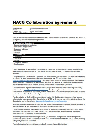 Basic Collaboration Agreement Example