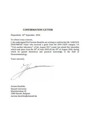Basic Confirmation Letter Format