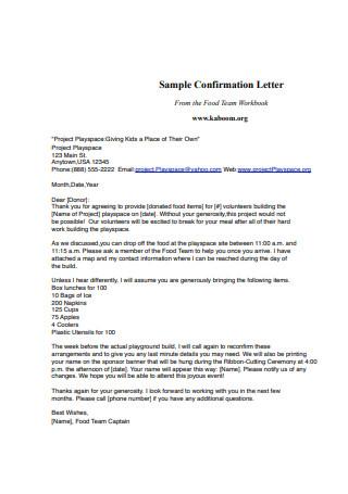 Basic Confirmation Letter Sample