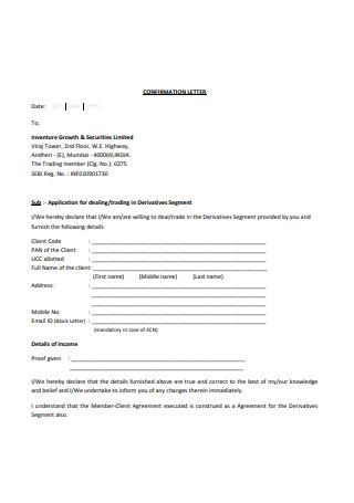 Basic Confirmation Letter