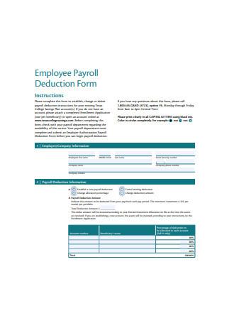 Basic Employee Payroll Deduction Form