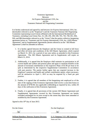 Basic Extension Agreement