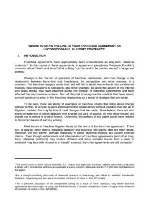 Basic Franchise Agreement Sample