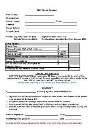 Basic Hall Rental Contract