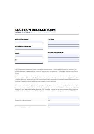 Basic Location Release Form