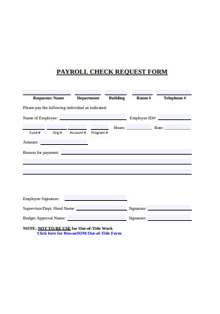 Basic Payroll Check Request Form