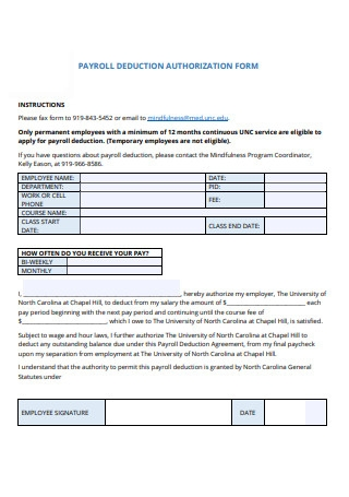 Basic Payroll Deduction Authorization Form Sample