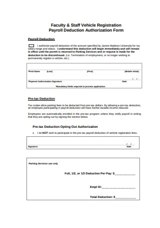 Basic Payroll Deduction Authorization Form