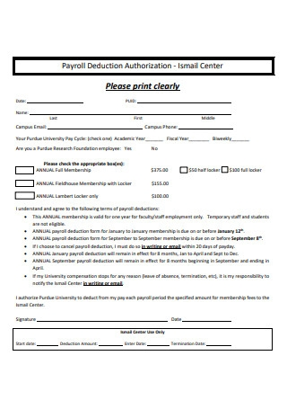 Basic Payroll Deduction Form Example
