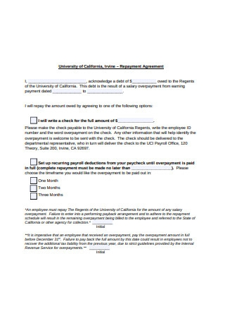 Basic Repayment Agreement Example