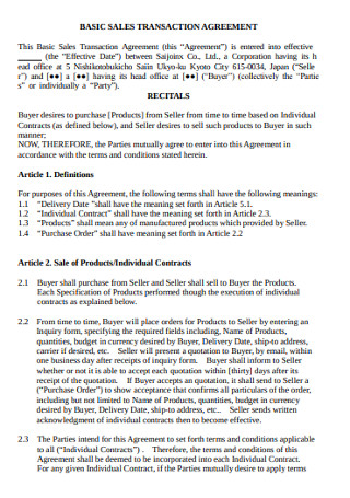 Basic Sales Transaction Agreement