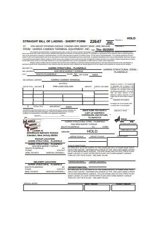 Basic Straight Bill of Lading Short Form