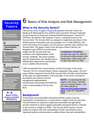 Basics of Risk Analysis Management
