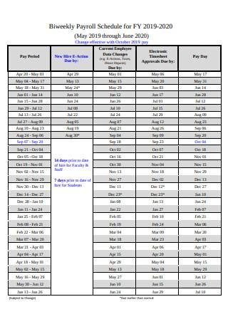 Bi weekly Payroll Schedule Example