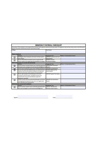 BiWeekly Payroll Checklist