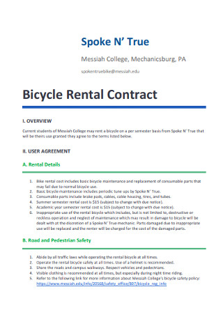 Bicycle Rental Contract